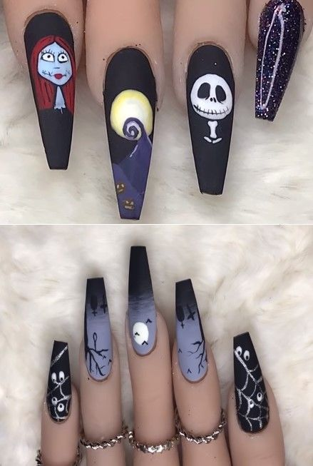 33 Halloween Nails Spook Designs To Terrify And Delight Your Friends Coffin Nails Designs Halloween Nails Halloween Nail Art
