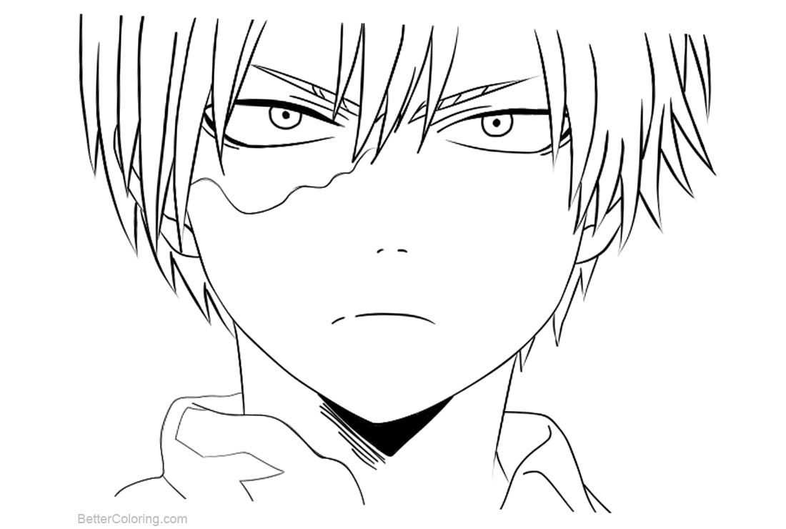 Boku No Hero Academia Coloring Pages Todoroki Lineart by