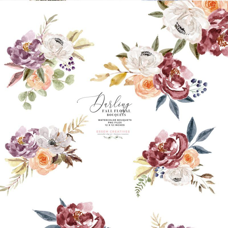 Fall Floral Watercolor Clipart Burgundy Rose Gold Geometric Floral Frames Floral Watercolor Fall Floral Watercolor Clipart