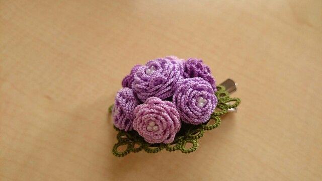 「薔薇の花束ブローチ、紫バ...」記事の画像