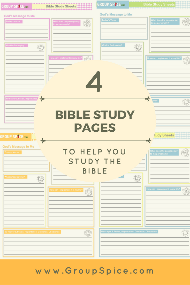 Here are 4 Biblestudy pages that you can print out and