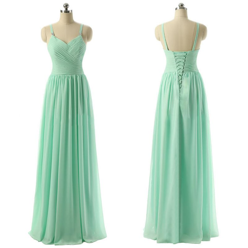 Mint Bridesmaid Dress with Ruching Detail, Discount V-neck Bridesmaid Dress, Long Chiffon Bridesmaid Dresses, #01012729 · VanessaWu · Online Store Powered by Storenvy