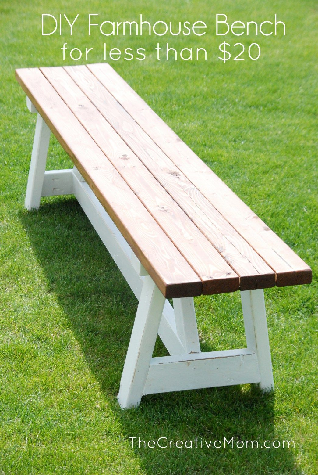 Info's : How to Build a Farmhouse Bench (for under ) - The Creative Mom