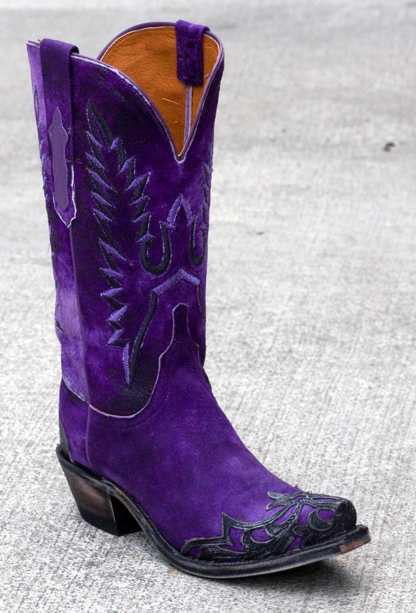 Womens Lucchese Goat Boots Purple #N4736 -- #LSU ladies need these ...