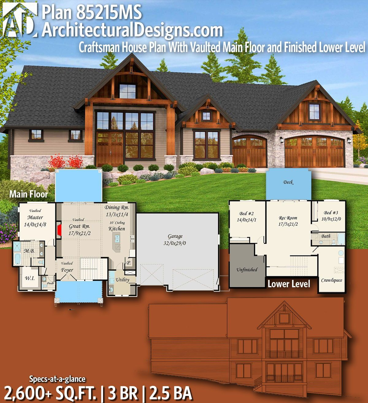 Plan 14632rk Rugged Craftsman With Room Over Garage: Plan 85215MS: Craftsman House Plan With Vaulted Main Floor