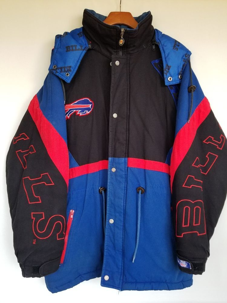 VINTAGE Buffalo Bills Goose Down Jacket Parka Coat w/ Hood
