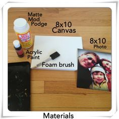 DIY Photo Canvas using photo and modge podge and no peeling off the back or extra steps. Trying this!