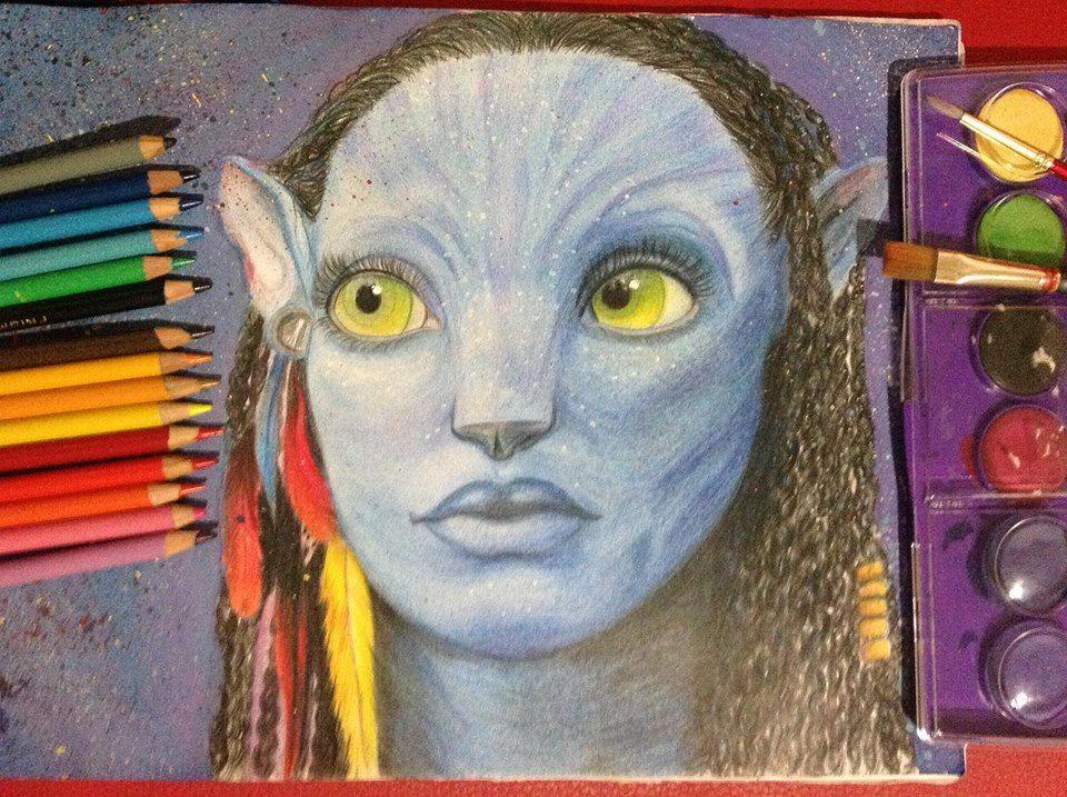 Neytiri de Avatar, hecho con colores, acuarelas y un poco de acrilicos! :)