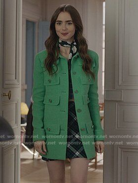 Emily's green tweed coat on Emily in Paris