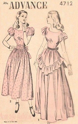Advance 4712 Judy Garland Graduation Dress Ca 1947 Sewing