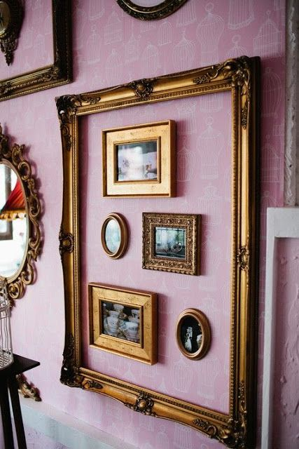 cute idea to group smaller frames inside a larger one - Picture Frame Ideas
