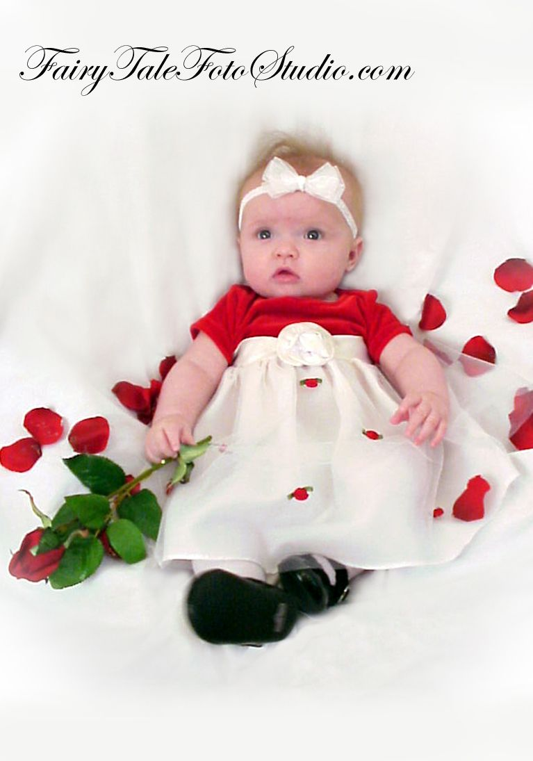 Newborn Baby Girl With Rose And Red Petals Valentine S Day Portrait