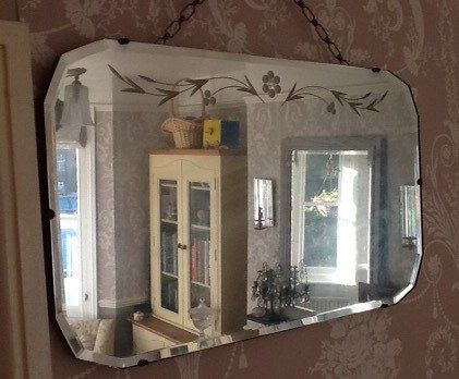 Vintage Beveled Edge Art Deco Mirror With Carved Flower Design1930s Art Deco Mirror Etched Mirror Mirror