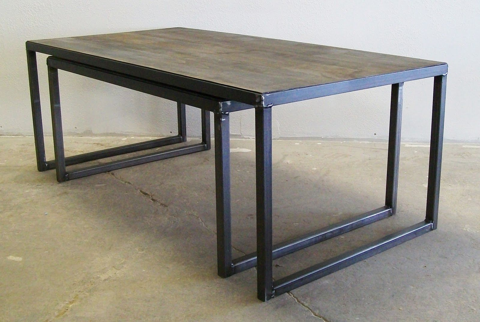 Furniture Amalgam Steel Nesting Coffee Table With Black Steel Legs Construction And Rectangular