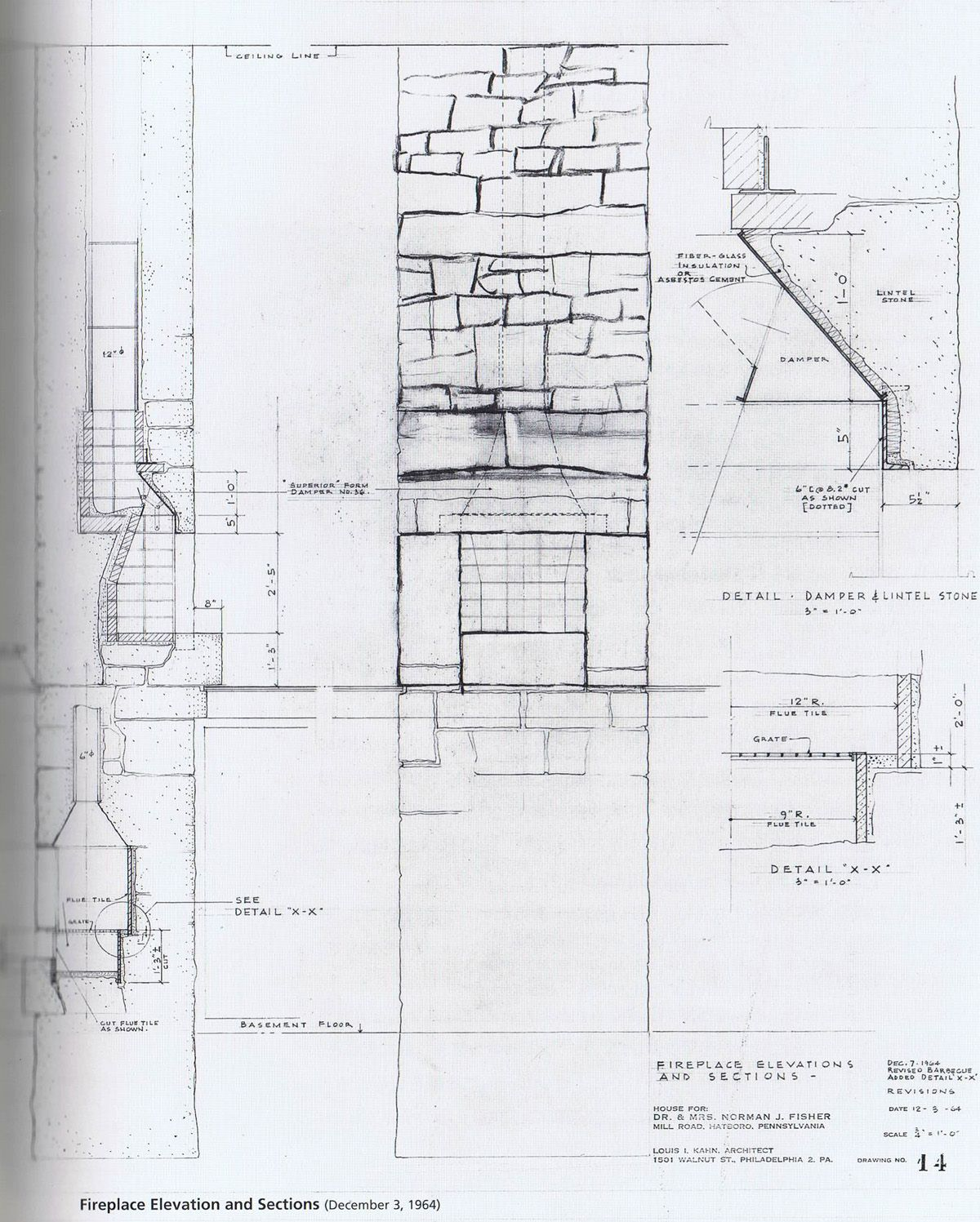 Fire place details. Fisher House. Hatboro, Pennsylvania, 1967. Louis ...