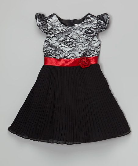 Black & Red Floral Lace Dress - Girls