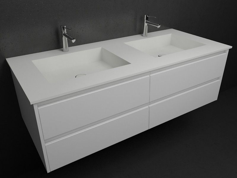 Vasque double square en corian meuble 4 tiroirs for Grand meuble salle de bain