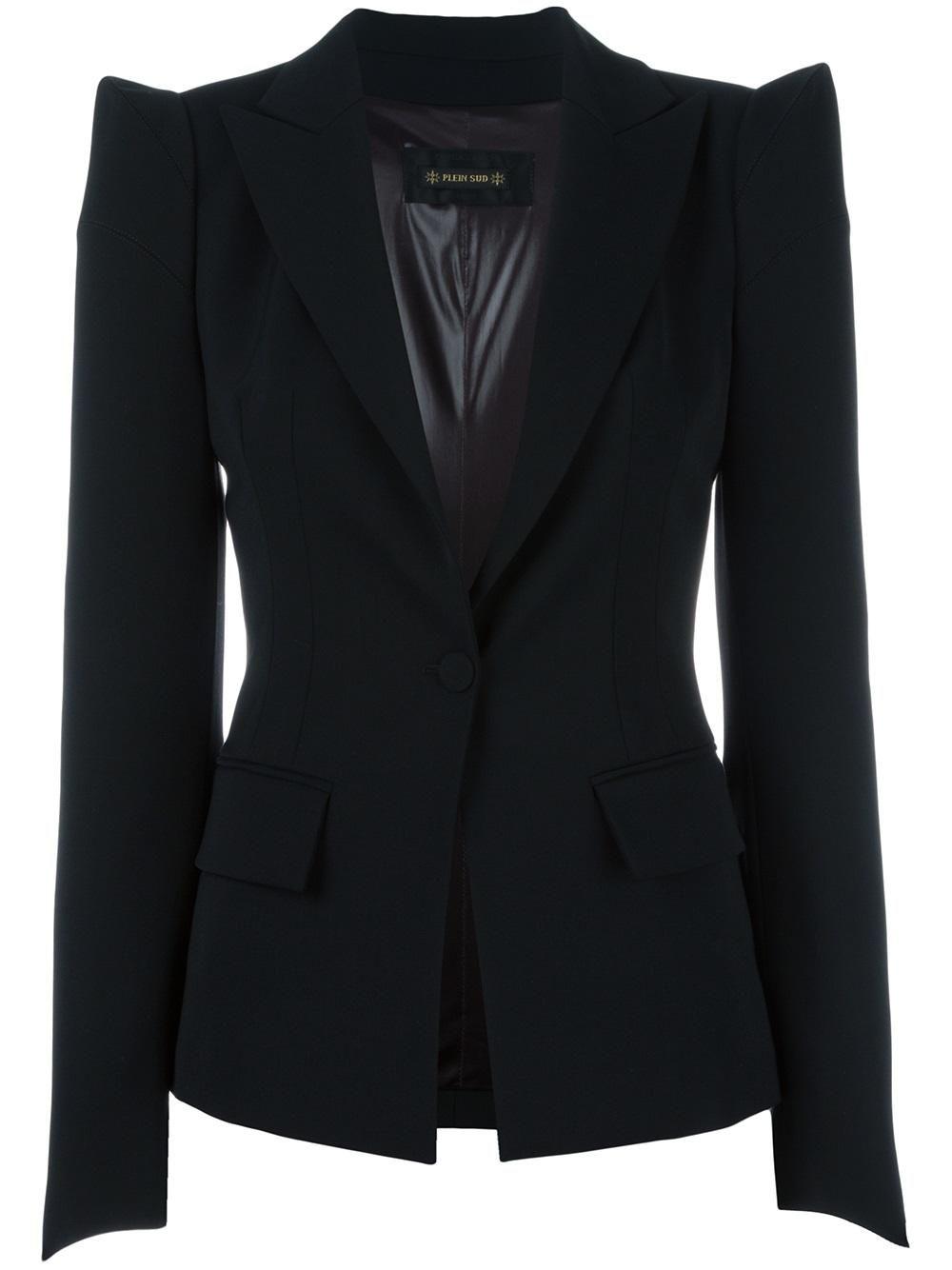 Plein Sud Pointy Shoulders Blazer Blazer Designs Blazer Blazers For Women [ 1334 x 1000 Pixel ]