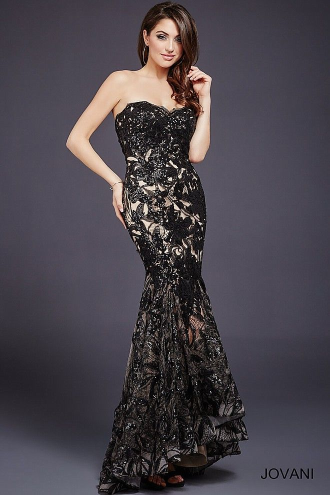 442b12691406 Black lace long high low sequin embellished mermaid gown features a strapless  sweetheart neckline, a nude underlay and a hidden zipper in the back.