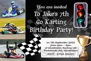Personalised Boys Go Kart Racing Invites Karting Party Invitations