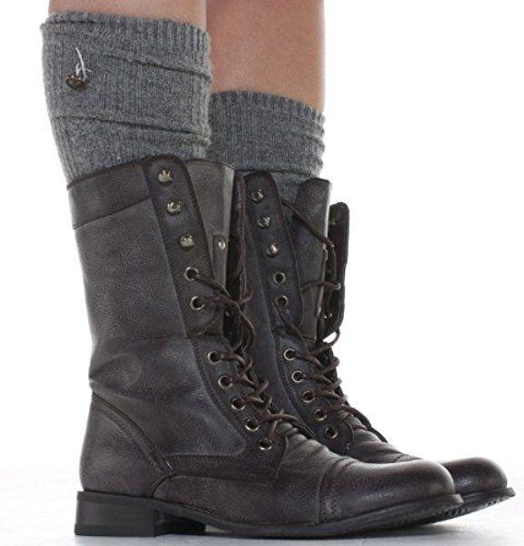 shoefashionista ,Bottes à lacets Femme Militaire Noir Vintage Chaussures  Plates Bottines