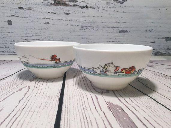Arcopal Café au Lait Bowls . Vintage Tom and Jerry Cereal Bowl ...