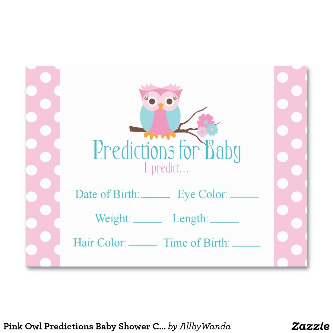 Pink Owl Predictions Baby Shower Card Large   Pink owl, Baby shower ...