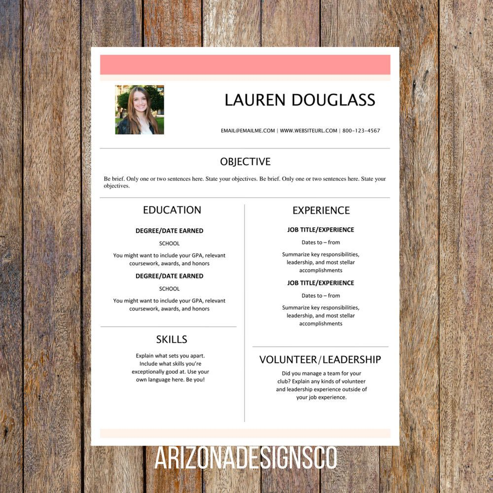 Feminine One Page Resume Template  Creative Resume Resume Template
