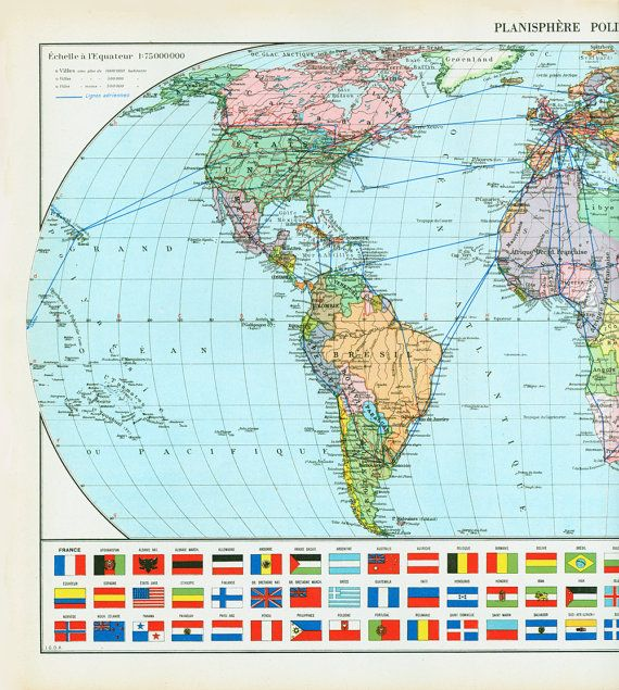1950 mappemonde physical planisphere globe plate tectonics earthquakes antique world map. Black Bedroom Furniture Sets. Home Design Ideas