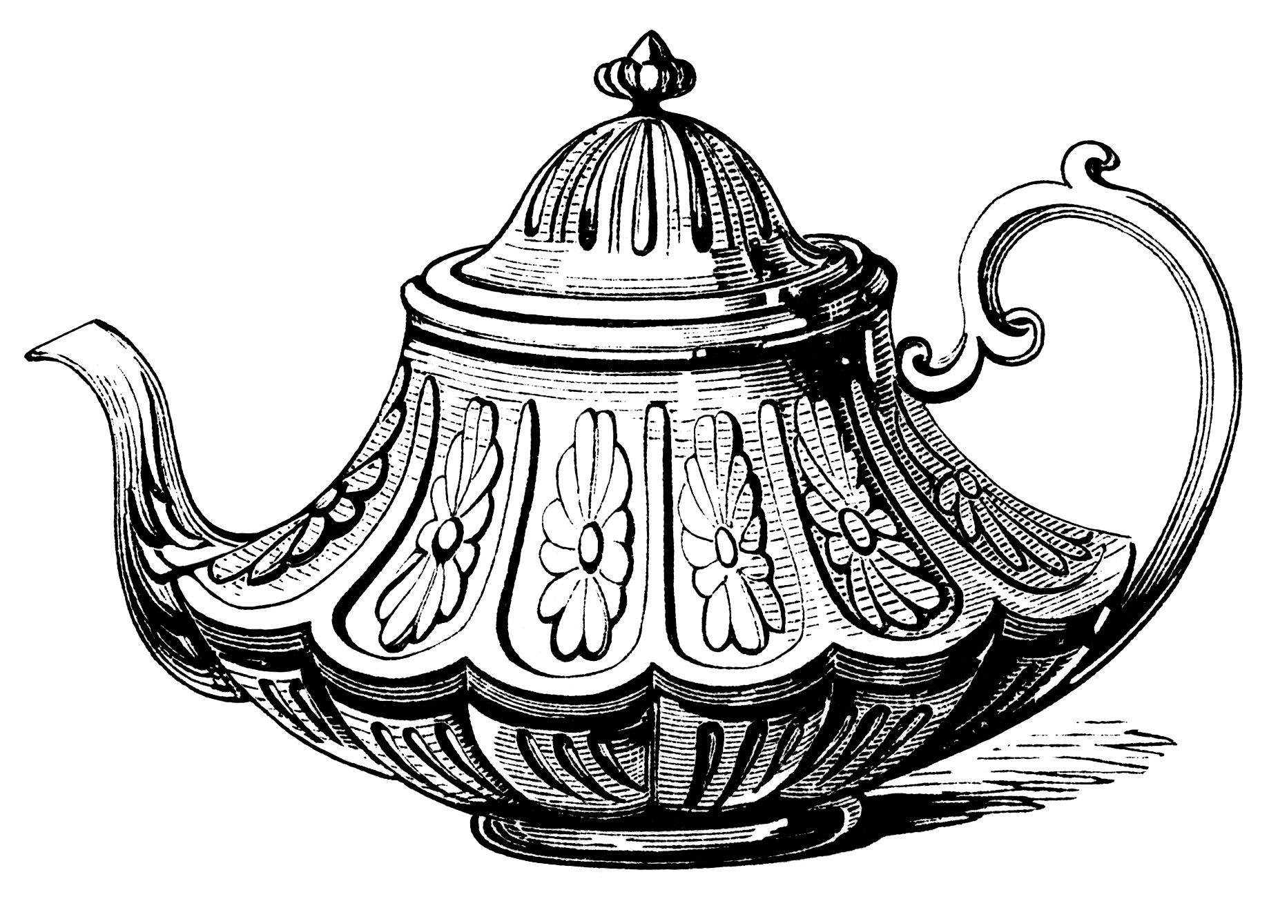 Victorian Tea Pot Vintage Teapot Clip Art Black And White Ilration Antique Printable Party Graphics