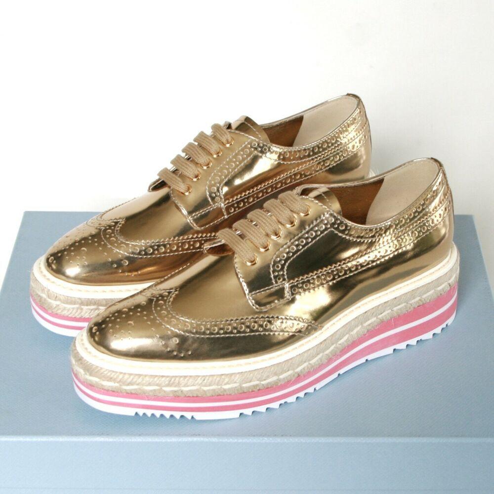 PRADA espadrille oxford shoes gold
