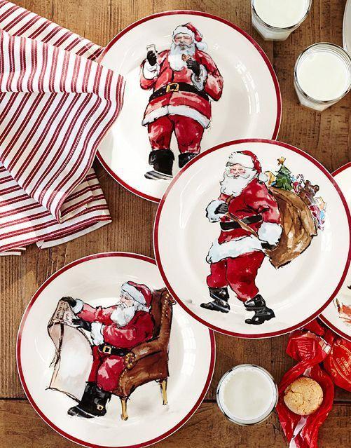 Painted Santa Claus Dinnerware Christmas Tableware Christmas Dinnerware Holiday Dinnerware