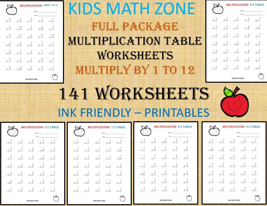 141 Multiplication Printable Worksheets For 2nd Grade To 4th Etsy Multiplication Worksheets Math Worksheets Printable Math Worksheets