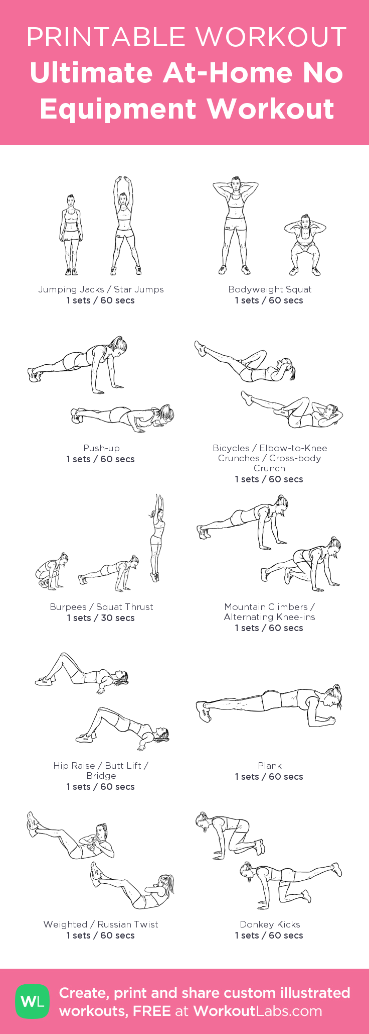 Ultimate At-Home No Equipment Workout – my custom workout created at WorkoutLabs.com • Click through to download as printable PDF! #customworkout