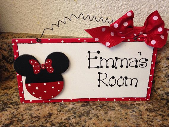Personalized Minnie Mouse Door Sign Cute Girls By