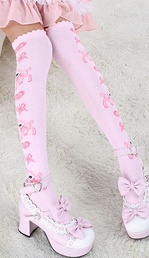 6d886ce20a1 Pink cute over the knee Bambi deer socks in 2019