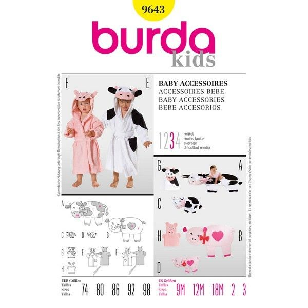 B9643 - Burda Style, Baby Accessories - Kids' - Paper Sewing Patterns