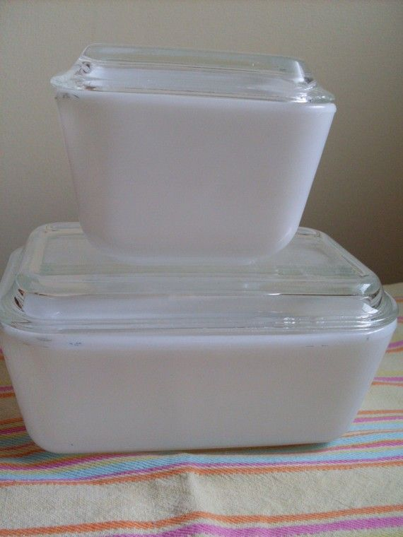 Vintage Pyrex Opal White Refrigerator Dishes Set Of 2 1950s Old
