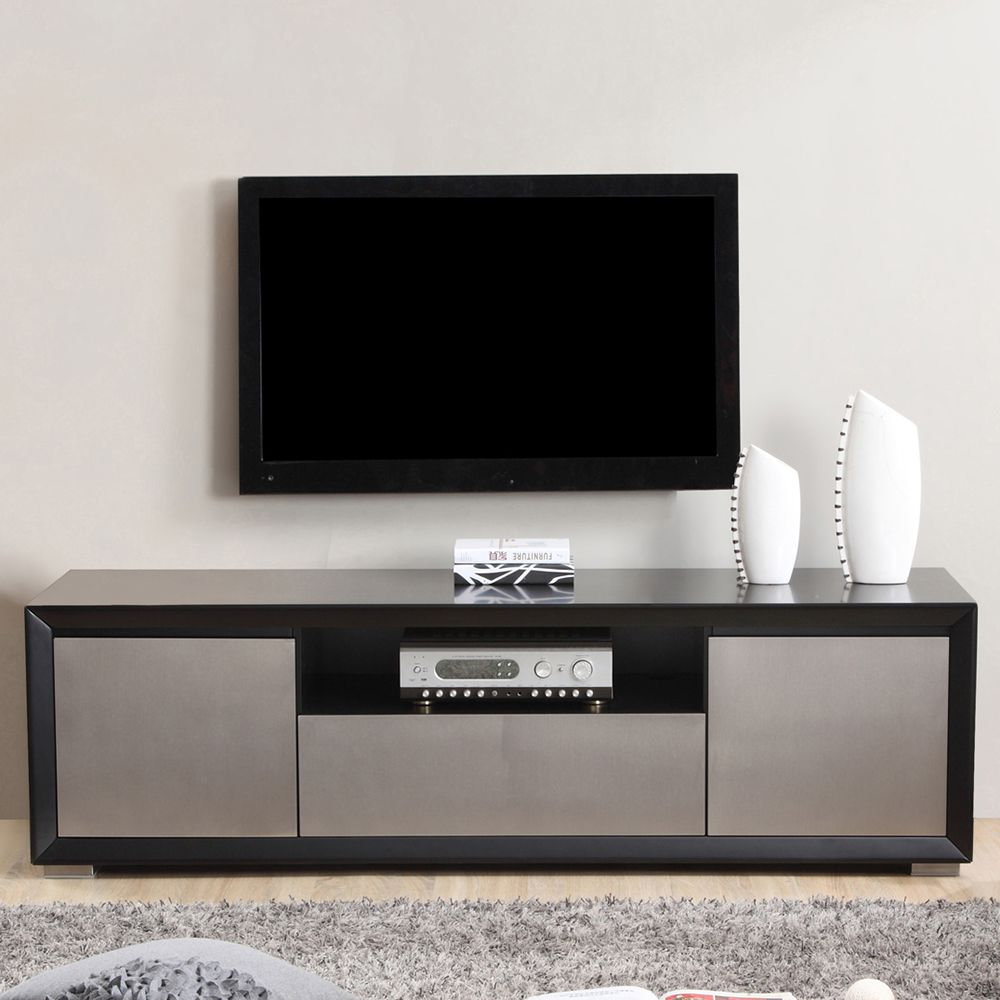Esquire 75 Contemporary Tv Stand In Matte Black Stainless Steel Dynamichome Tvstand Modernstyle Interior 55 Inch Tv Stand Cool Tv Stands Modern Tv Stand