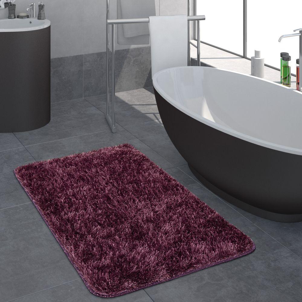 Hochflor Badezimmer Teppich Einfarbig Dunkellila Mit Bildern
