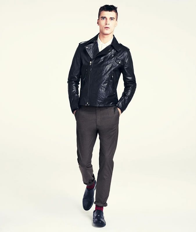 Menu0026#39;s Smart Leather Biker Jacket Outfit - With Shirt Trousers and Shoes | Fashion | Pinterest ...