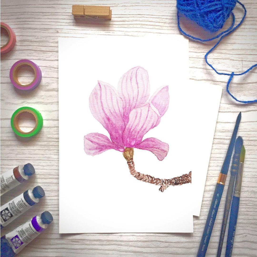 "Olivia Malto on Instagram: ""Day 85/100 Magnolia flower  #watercolorillustration #watercolorflorals #watercolorflowers  #floralwatercolor #looseflorals #floralsyourway…"""
