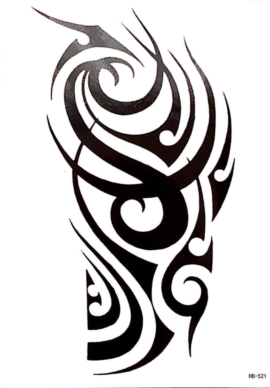 4 Sheets Black Large Temporary Tattoo Men Women Tribal Totem Black