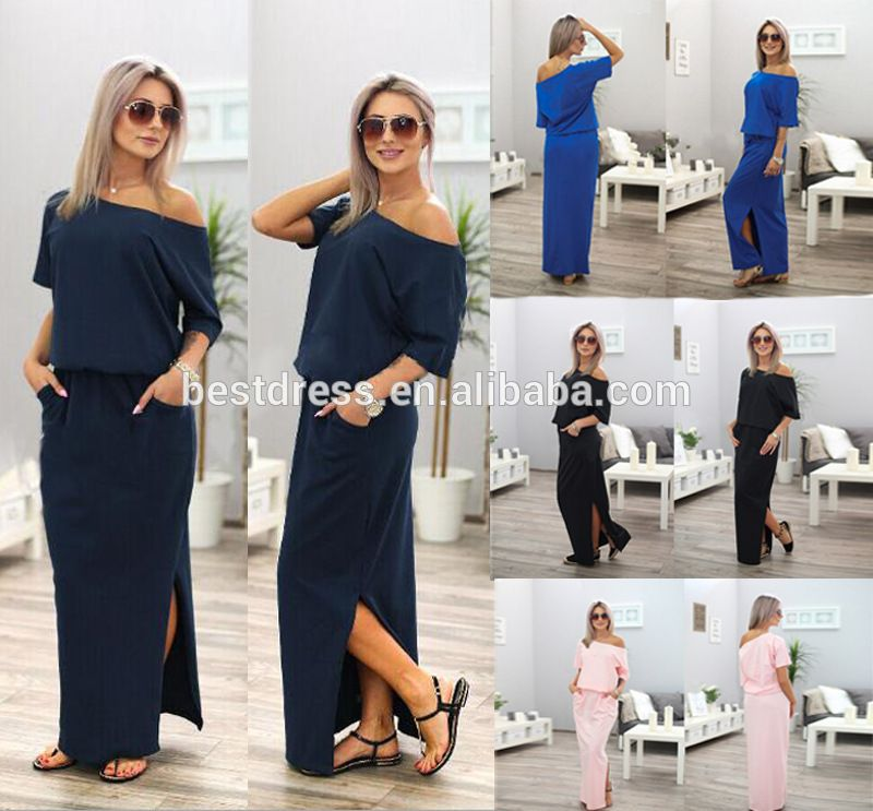 Women Fashion Short Sleeves Solid Color Loose Clubwear Casual Party Long Dress