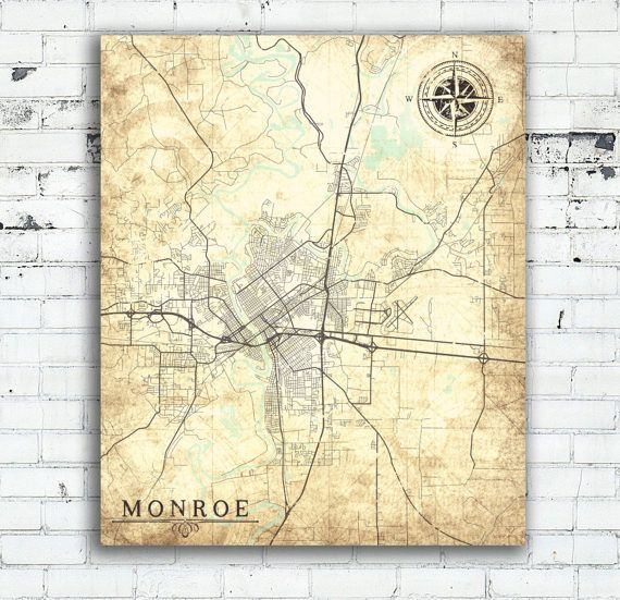 MONROE LA Canvas Print Louisiana City Vintage map Town Plan La Home ...