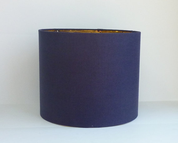 Drum Lamp Shade In Navy Blue Linen Fabric With Metallic Gold Lining Drum Lampshade Navy Blue Linen Lamp Shade