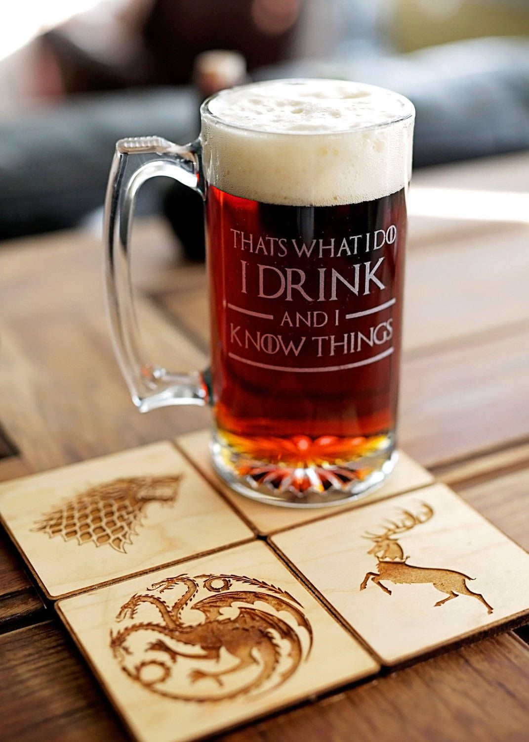 Game of Thrones glass beer mug engraved gift for him or
