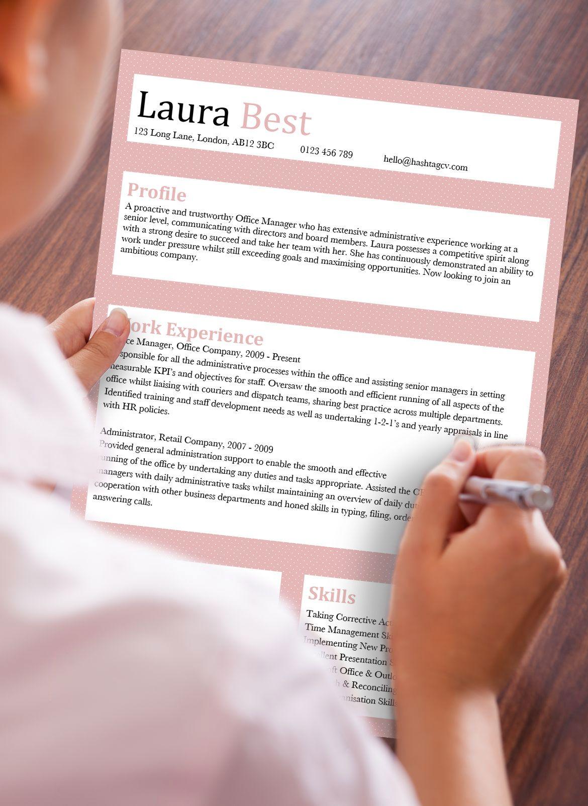 Hashtag CV Fancy Pants Word CV Resume Template Design