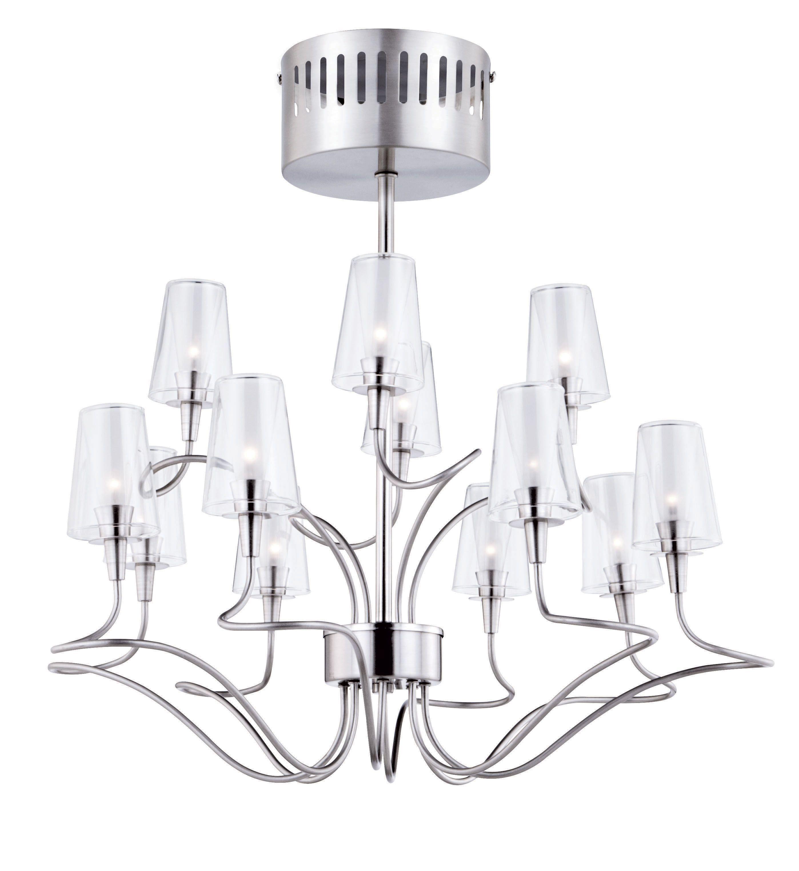 Helges Brushed Chrome Effect 12 Lamp Chandelier Garden SuppliesLight FixturesChandeliersDining Room