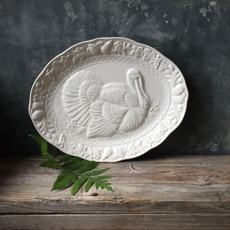 Vintage Ceramic Thanksgiving Turkey Platter Vintage Turkey Platter Made In Japan White Turkey Tray Christmas Turkey Platter Ceramic Platters Vintage Ceramic